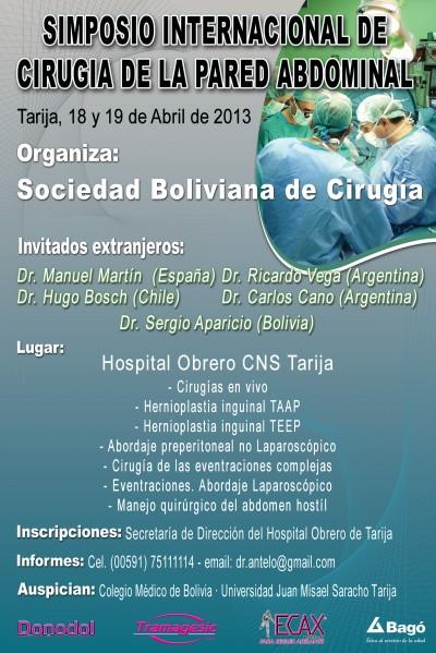 Simposio Internacional de Cirugía de Pared (Bolivia Tarija) 18 y 19 de Abril 2013